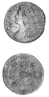 George II, Shilling, 1739, sim