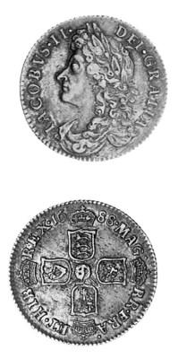 James II, Sixpence, 1688, simi