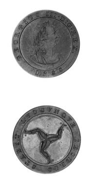 Bronzed proof halfpenny, 1798,
