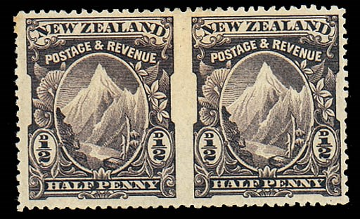 unused  ½d. purple-brown pair,