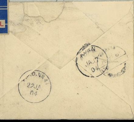 cover -- 1904 (Jan.) GB 1d. st