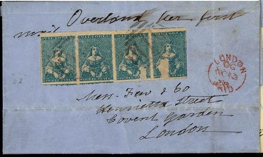 cover 3d. blue strip of four,