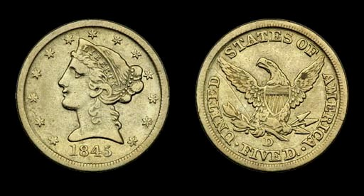 $5, 1845-D VF-25 (PCGS).    Ve