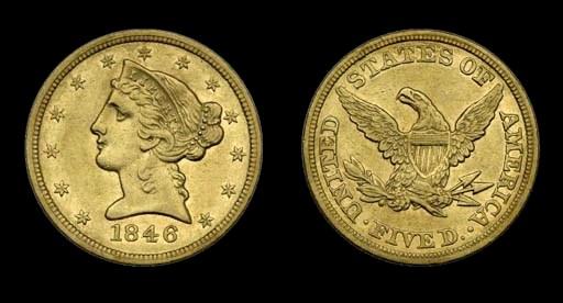 $5, 1846 Small Date. AU-50 (PC