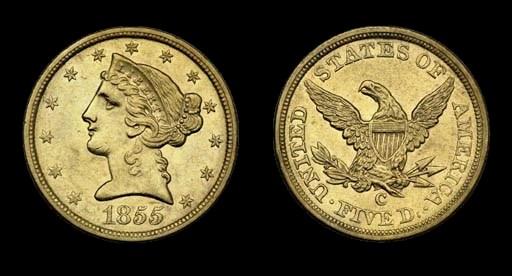 $5, 1855-C AU-55 (PCGS).    Re