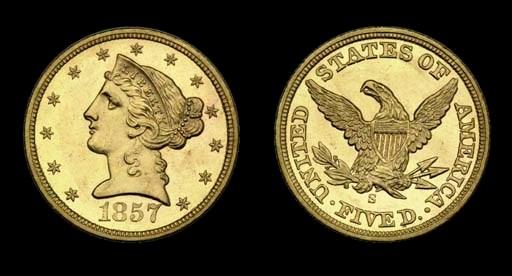 $5, 1857-S MS-64 (PCGS).    Lo