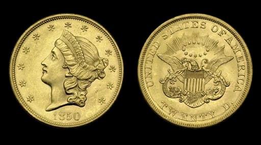 $20, 1850 AU-58 (PCGS).    A b