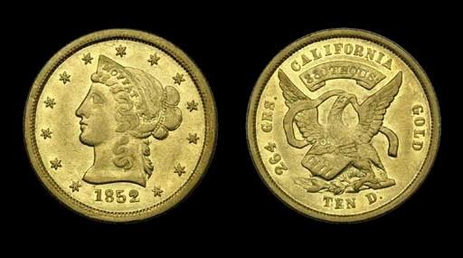 1852 Moffat & Co. $10 gold. K-