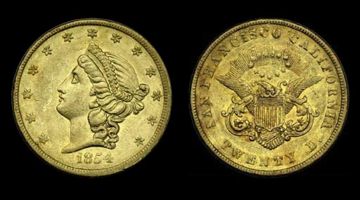 1854 Kellogg & Co. $20 gold. K