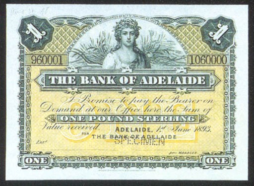 Bank of Adelaide, specimen £1,