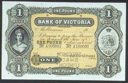 Bank of Victoria, specimen £1,