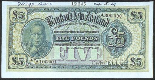 Bank of New Zealand, specimen