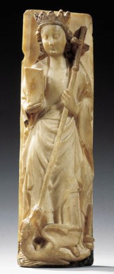 A rectangular carved alabaster