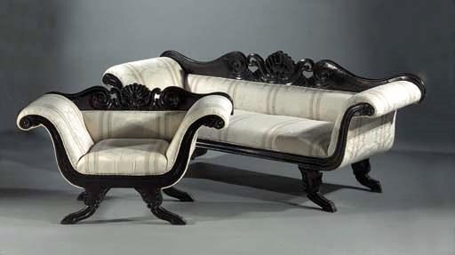A set of ebonised seat-furnitu