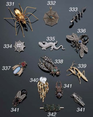 A COLLECTION OF INSECT BROOCHE