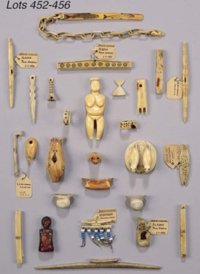FIVE INUIT STONE AND IVORY ART