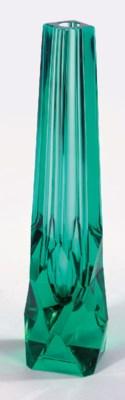 An emerald green glass bud vas