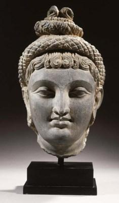 a rare gandhara schist head of