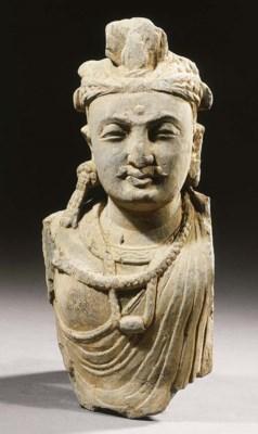 a gandhara schist bust of a bo