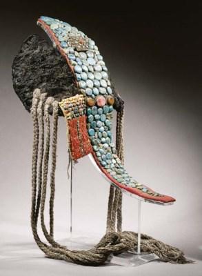 a ladakh female headdress, per