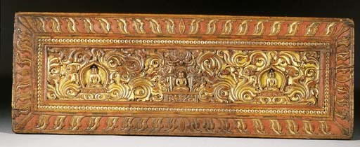 a tibetan gilt-wooden manuscri