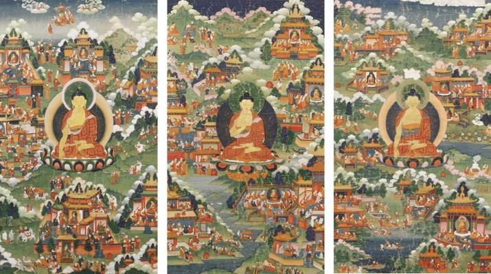 three tibetan thang.kas depict