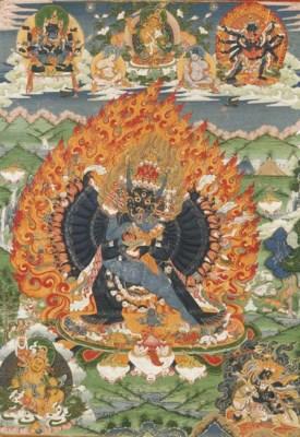 a fine tibetan thang.ka depict