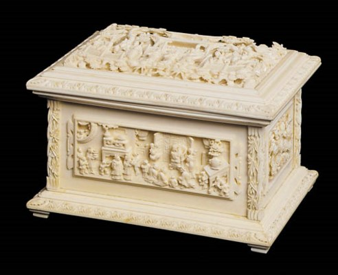 A Chinese ivory casket