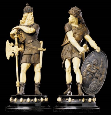 A pair of paste-set bronze and