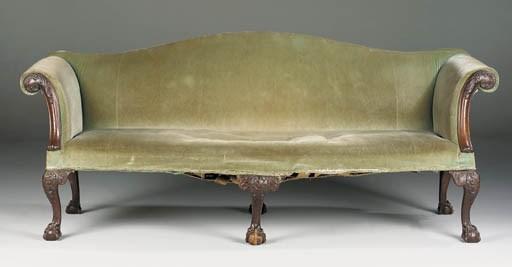A GEORGE II MAHOGANY SOFA