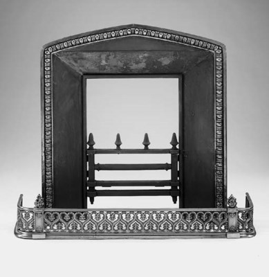 A steel and part gilt fireplac