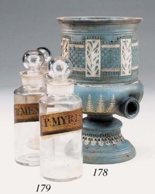 A set of three Victorian glass