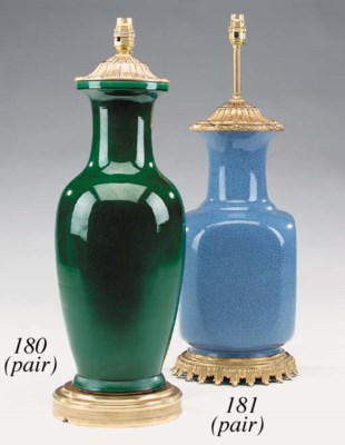 A pair of blue crackle-glazed
