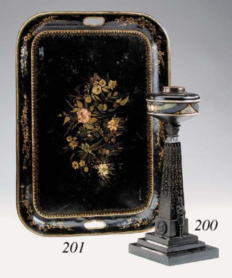 A Victorian bronze table oil l