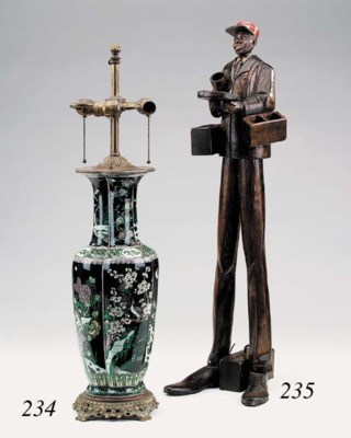 A Chinese famille noir vase, b