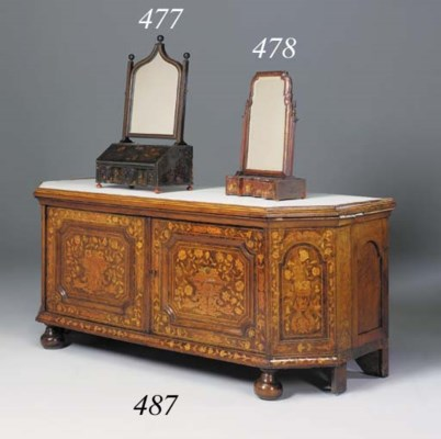 A Dutch walnut and marquetry s
