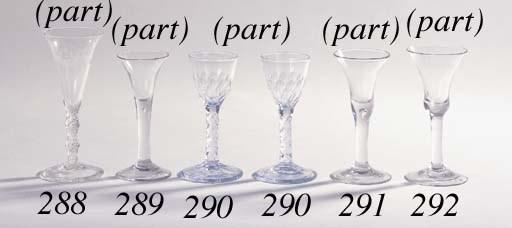 Six facet-stemmed wine glasses