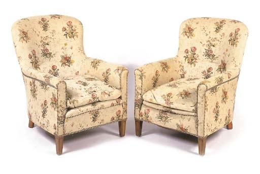 A pair of mahogany framed armc