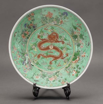 A famille verte charger 19th c