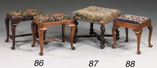 A carved walnut stool, 19th ce