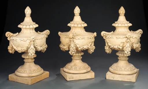 Three Victorian terracotta urn