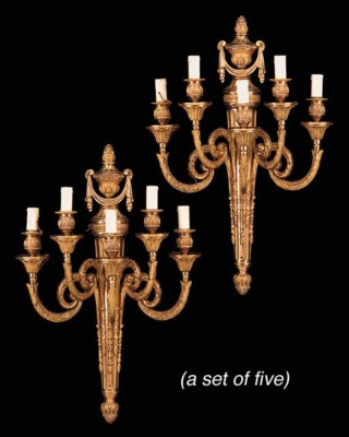 A set of five gilt bronze five