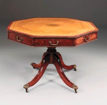 A mahogany octagonal drum top
