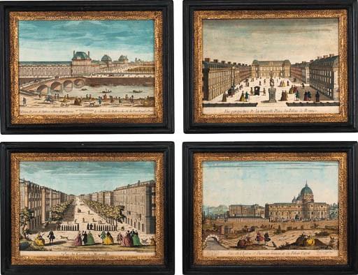 A set of four tinted prints de