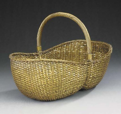 A French silvered brass basket