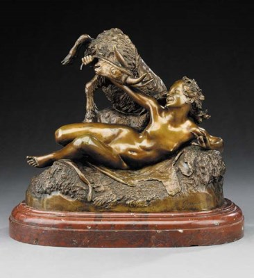 A French bronze group, late 19