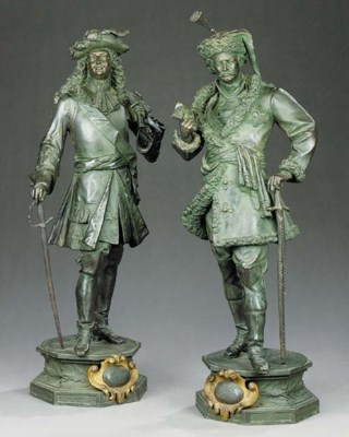 A pair of French spelter figur