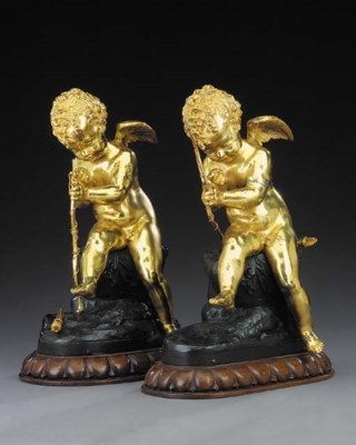 Two matching French bronze fig