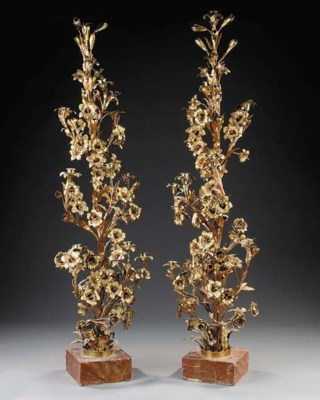A pair of French gilt brass ca