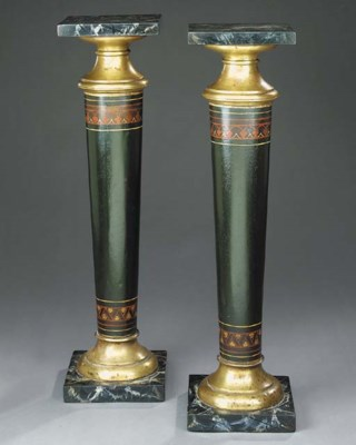 A pair of French painted tôle